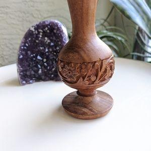 Vintage Accents - Vintage Carved Wood Candle Holder Home Decor